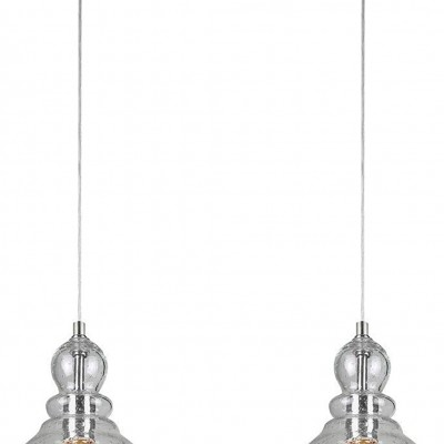 Light Indoor Mini Pendant in Brushed Nickel Finish with Hand-Blown Clear Seeded Glass