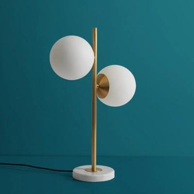 Gold Modern LED Globe Table Lamp 2 Light White Glass Shade Marble Base
