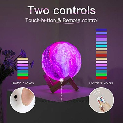 LED 3D Galaxy Star Remote & Touch Control USB Rechargeable Moon Light with Wood Stand Gift