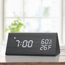 Wooden Digital Alarm Clock with Electronic LED Time Display 3 Alarm Settings Humidity and Temperature Detect