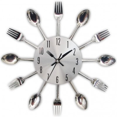 3D Removable Modern Creative Cutlery Kitchen Spoon Fork Wall Clock Mirror Wall Decal Wall Sticker Room Home Decoration
