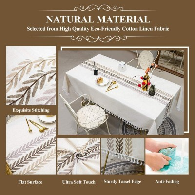 Farmhouse Table Cloth Cotton Linen Tablecloths Stitching Table Cloths Wrinkle Free Rectangle Tablecloth