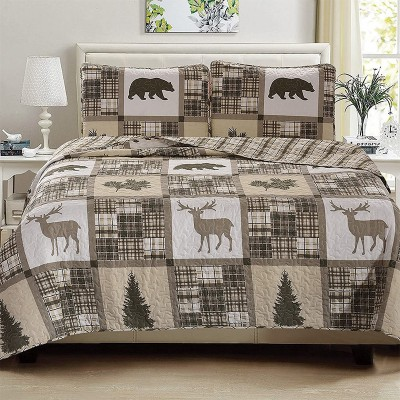 3 Piece Reversible All Season Quilt Coverlet Bed Set Bedspread Full/Queen Size Quilt with 2 Shams