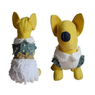 Spring Summer Puppy Dog Cat Denim Skirt Princess Dress Jean Bow Lace Dress Small Pet Teddy Clothes Apparel