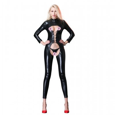 Women Sexy Leather Jumpsuit Full Body Latex Catsuit Open Chest Erotic Nightclub Lingerie Costumes