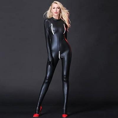 Sexy Black Female Faux Leather Catsuit PVC Latex Full Bodysuit Zipper Open Crotch Stretch Clubwear Erotic Pole Dance Lingerie