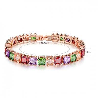 Copper Zircon Chain Colorful Rose Gold Bracelet for Women