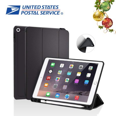 US STOCK New iPad 9.7 Inch 2018 Case with Pencil Holder, Spessn Trifold Stand Folio Smart Cover Case with Auto Sleep / Wake Function for Apple iPad 9.7 inch A1893 A1954 Black