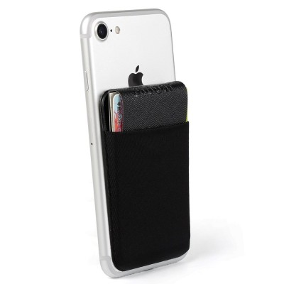 Back Card Holder for Moible Phone, Spessn Ultra-Slim Self Adhesive Credit Card Holder Sticker for Self Phone Black On Sale