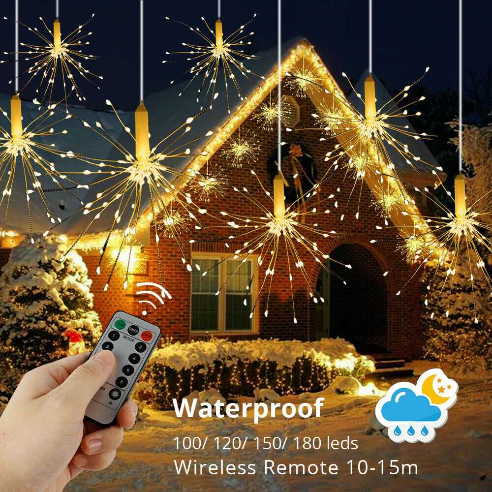 100 120 150 180 Creative Hanging Twinkle Lights Outdoor Led String Firework Light Wireless Remote 10M Dimmer Waterproof Battery Operated