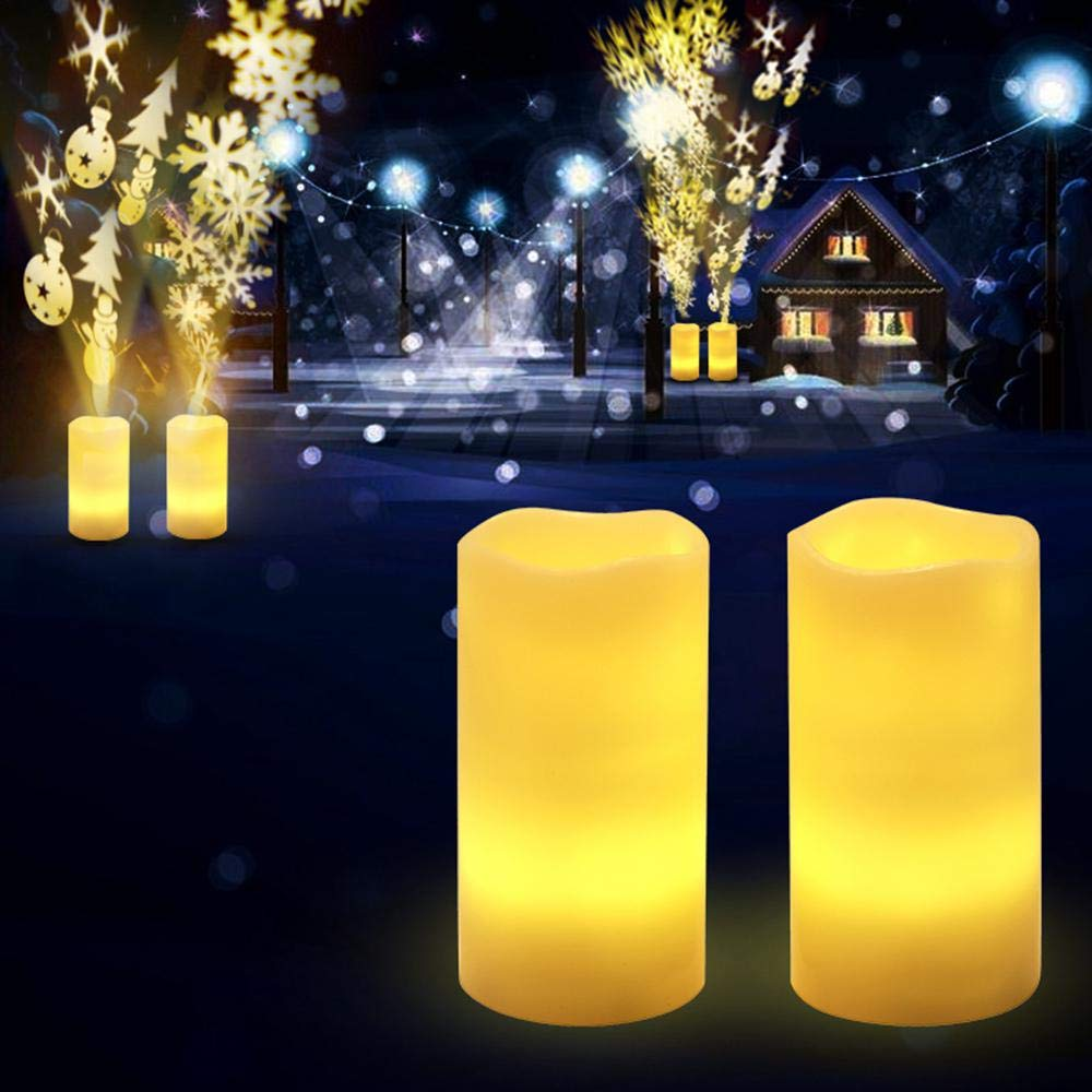 Eco-friendly Christmas Projector Lights Snowfall Indoor Flameless LED Projection Candle Lamp With Timer Wiress Remote Home Decoration