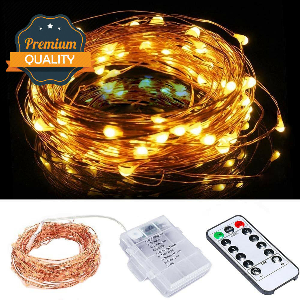 5m 10m Led Twinkle Light Outdoor Indoor Fairy String Christmas DIY Light AA Battery Powered Waterproof Wireless Remote Control