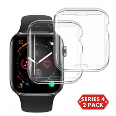 2 Pack For Apple Watch Series 4 40mm 44mm Transparent Case,  Spessn For Apple iWatch Screen Protector Clear Case Soft Silicone Full Protecive Cover
