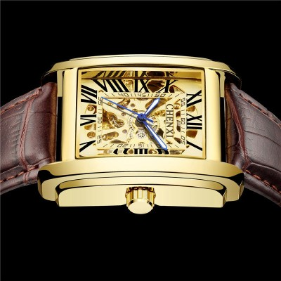 New square watch male hollow automatic mechanical watch male waterproof business trend retro men's watch