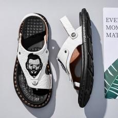 2021 new summer outdoor wear flip flops men's outdoor dual-use ins driving slippers men's trend leather sandals men