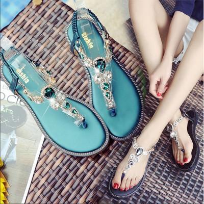 Flip-foot sandals female summer flat bottom Rome 2021 new beach soft bottom rhinestone bohemian students ins large size