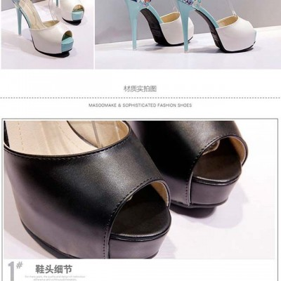 2021 Korean fashion sexy stiletto high-heeled shoes female flower back bag with waterproof platform all-match fish mouth shoes side empty sandals female