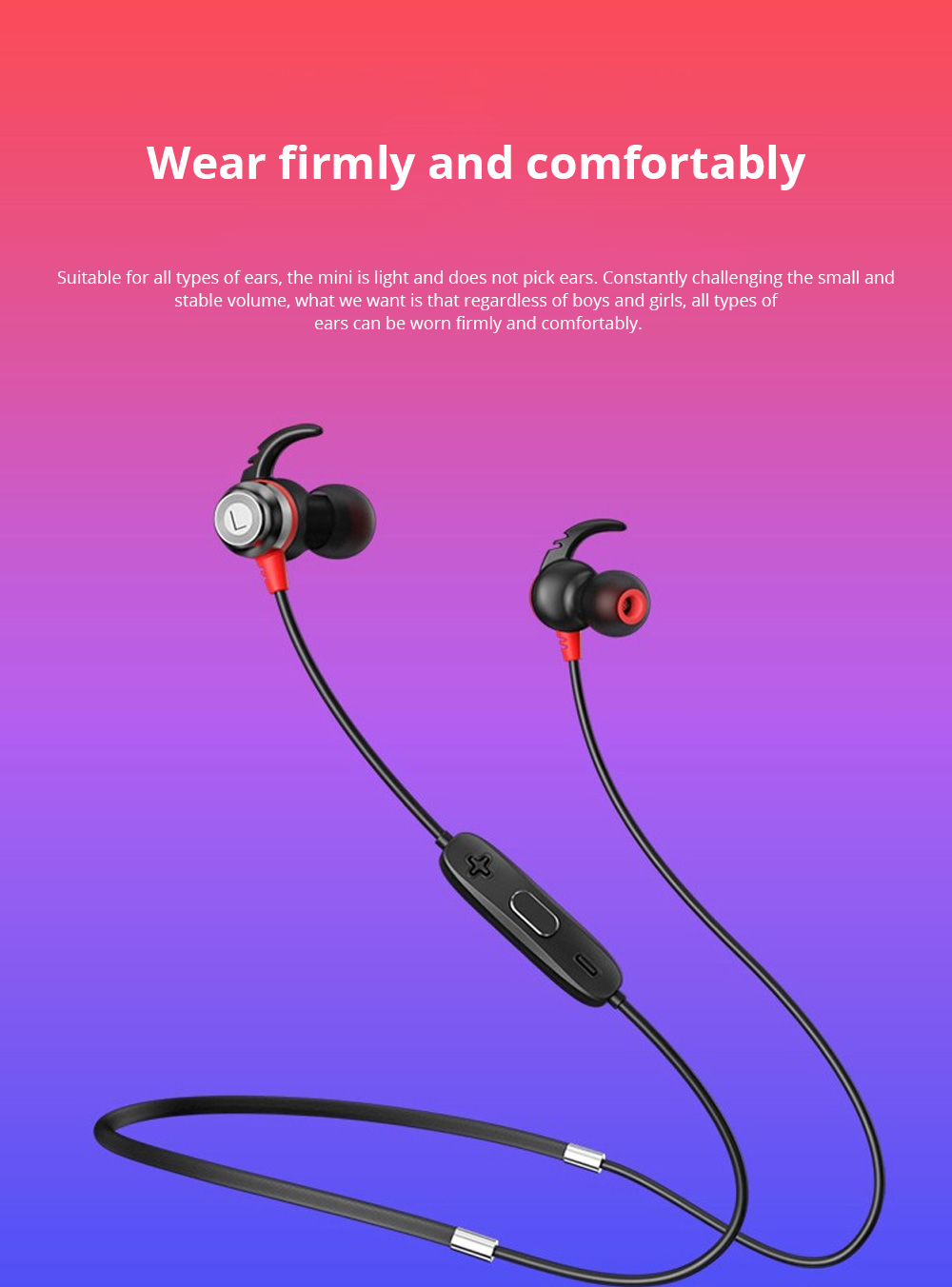 Loomoo T390BT Neck-mounted Binaural Stereo Sweat-proof Gift Custom Black Sports Bluetooth earphone 0