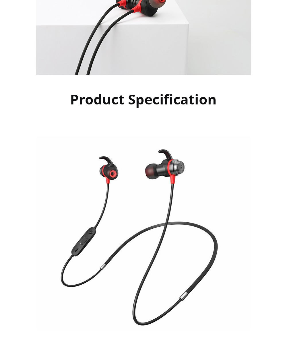 Loomoo T390BT Neck-mounted Binaural Stereo Sweat-proof Gift Custom Black Sports Bluetooth earphone 7