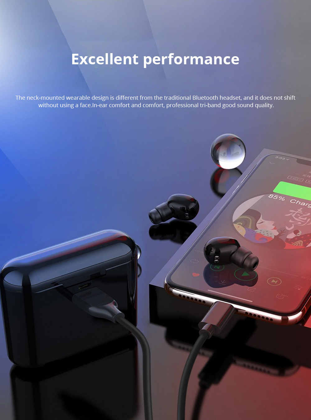 Customization Black Loomoo T8 Earphone Bluetooth Headset Charging Compartment 2200 Capacity Light Compact Sound Quality Supports Hands-free Calling Gift  0