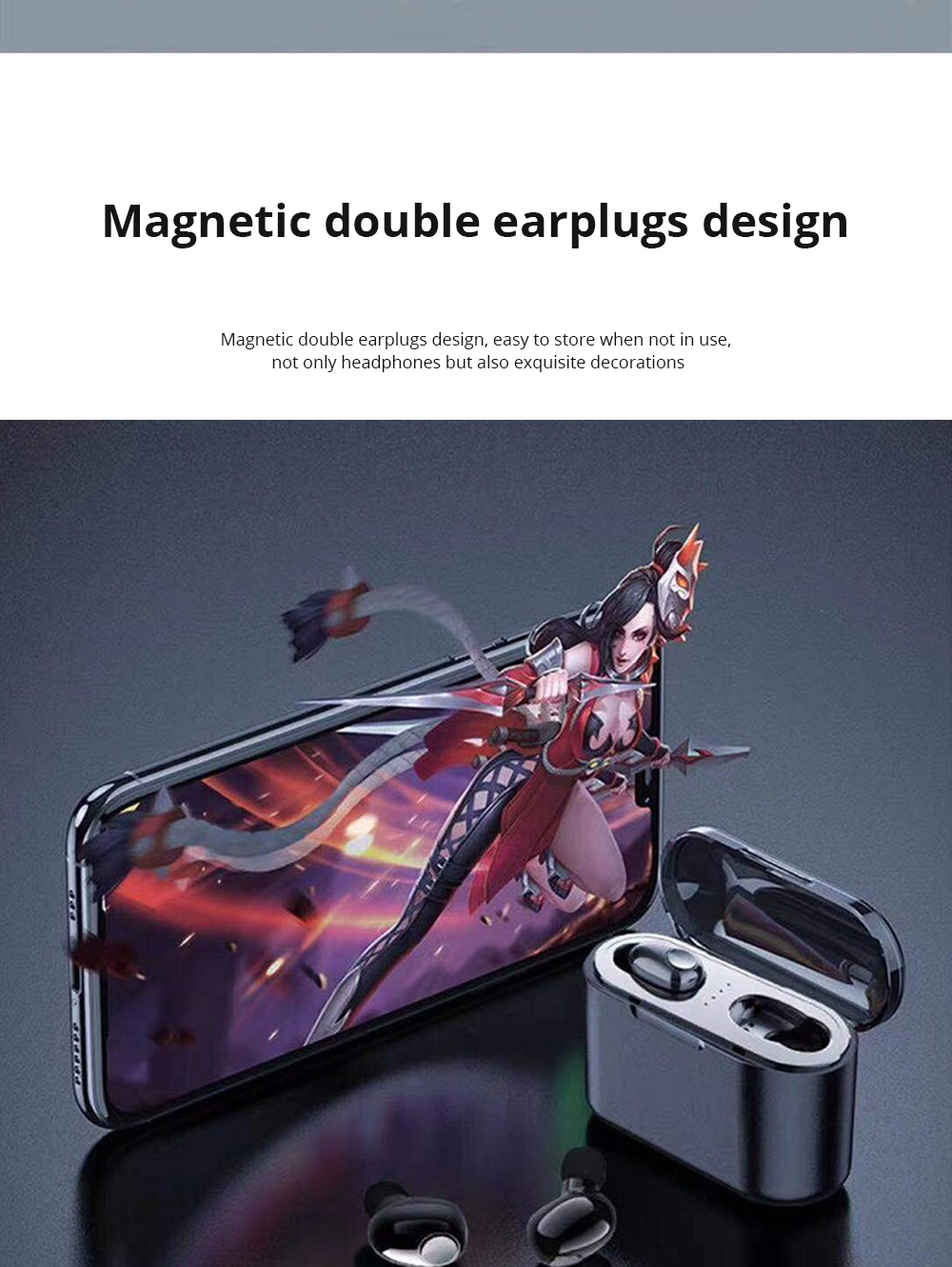Customization Black Loomoo T8 Earphone Bluetooth Headset Charging Compartment 2200 Capacity Light Compact Sound Quality Supports Hands-free Calling Gift  3