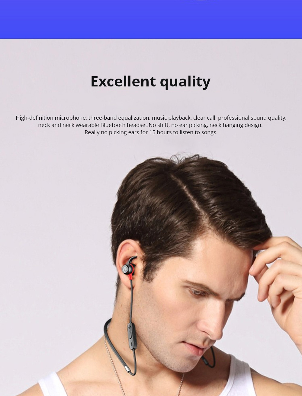 Loomoo T390BT Neck-mounted Binaural Stereo Sweat-proof Gift Custom Black Sports Bluetooth earphone 1