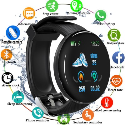 D18 Smart Watch Men Women Round Smart Watches Fitness Tracker Blood Pressure Wristband Heart Rate Pedometer Waterproof Sports Smartwatch for Android IOS Phones