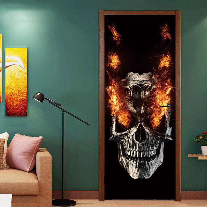 Party Supplies Halloween Decorations Flame Skull Wall Sticker Haunted House Decoration Door Big Sticker 3