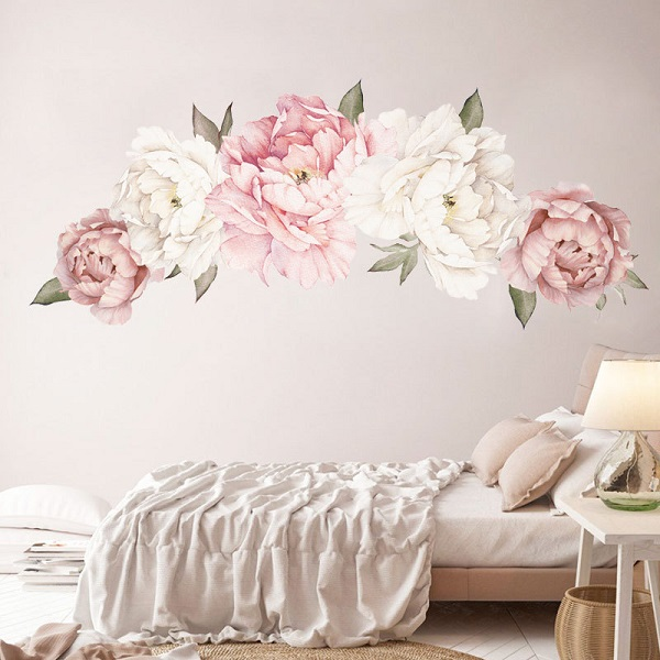 Flowers Wall Sticker Peony Rose, Outivity Waterproof PVC Wall Decals Flowers for Sofa Background Living Room Bedroom Kitchen Nursery Room Decorations 2