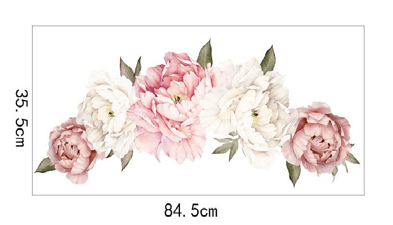 Flowers Wall Sticker Peony Rose, Outivity Waterproof PVC Wall Decals Flowers for Sofa Background Living Room Bedroom Kitchen Nursery Room Decorations 3