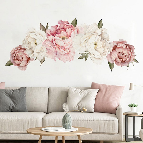 Flowers Wall Sticker Peony Rose, Outivity Waterproof PVC Wall Decals Flowers for Sofa Background Living Room Bedroom Kitchen Nursery Room Decorations 0
