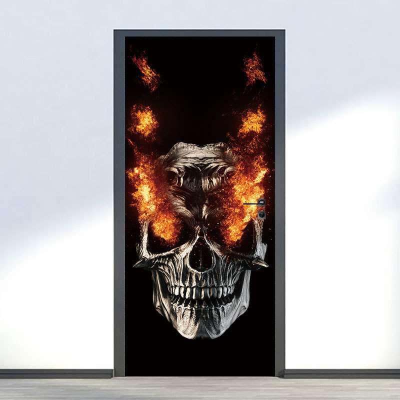 Party Supplies Halloween Decorations Flame Skull Wall Sticker Haunted House Decoration Door Big Sticker 1