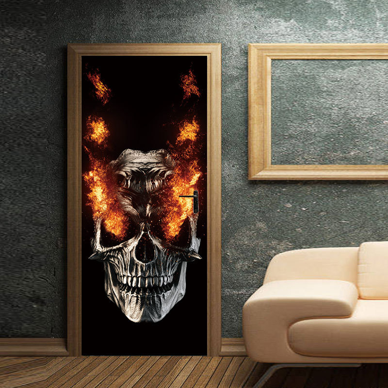 Party Supplies Halloween Decorations Flame Skull Wall Sticker Haunted House Decoration Door Big Sticker 2