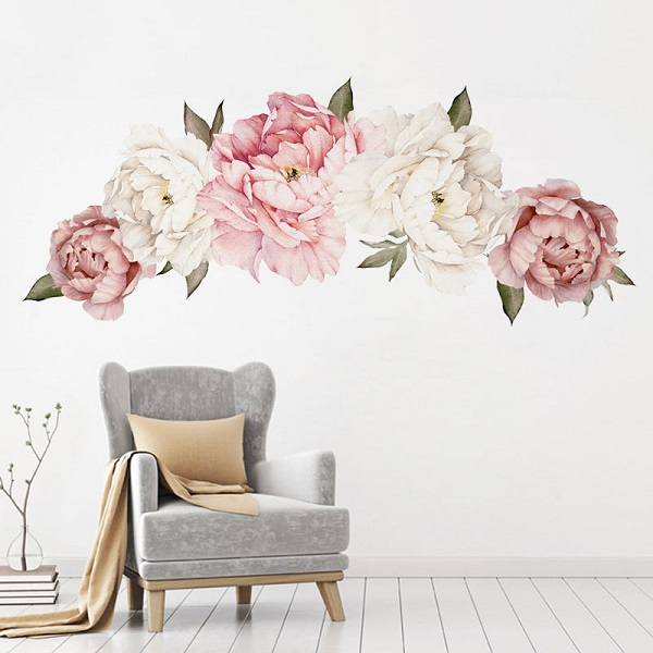 Flowers Wall Sticker Peony Rose, Outivity Waterproof PVC Wall Decals Flowers for Sofa Background Living Room Bedroom Kitchen Nursery Room Decorations 1