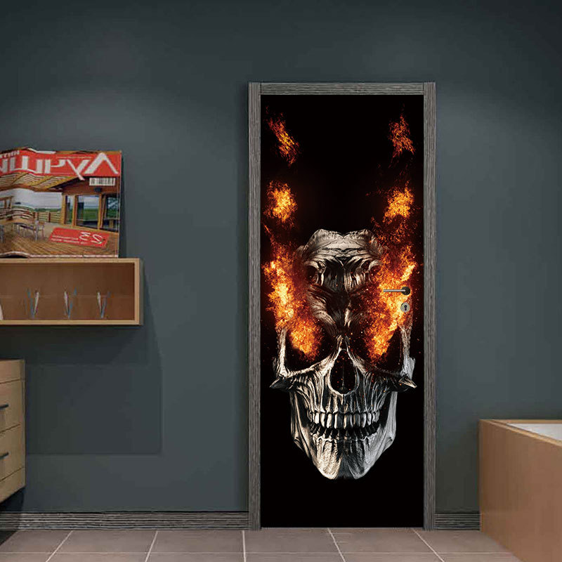 Party Supplies Halloween Decorations Flame Skull Wall Sticker Haunted House Decoration Door Big Sticker 0