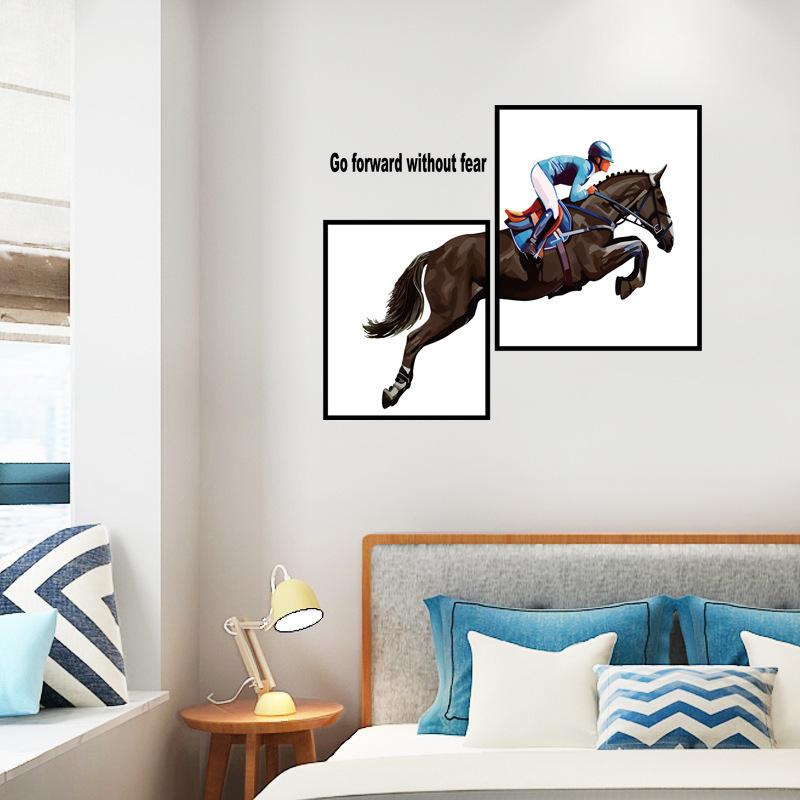 Modern Style Horseman Art Wall Stickers Bedroom Furniture Creative Decoration Self-adhesive 0