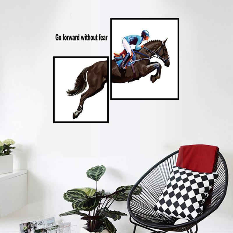 Modern Style Horseman Art Wall Stickers Bedroom Furniture Creative Decoration Self-adhesive 2