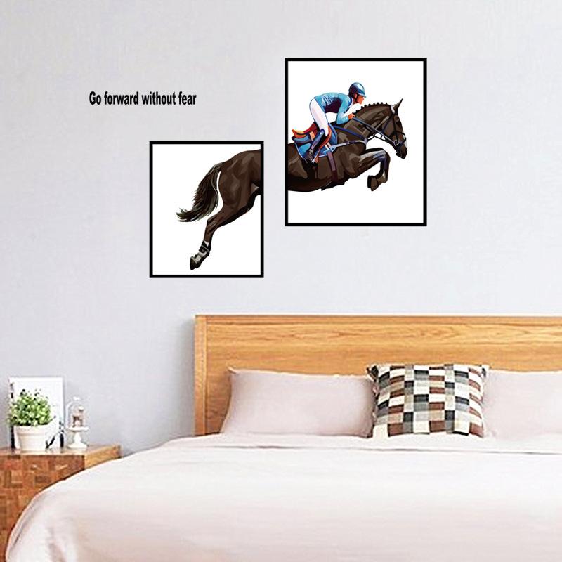 Modern Style Horseman Art Wall Stickers Bedroom Furniture Creative Decoration Self-adhesive 1