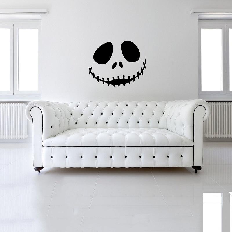 Halloween Cute smiling skull Art Wall Sticker Festive Atmosphere Decoration Waterproof Self-adhesive 0
