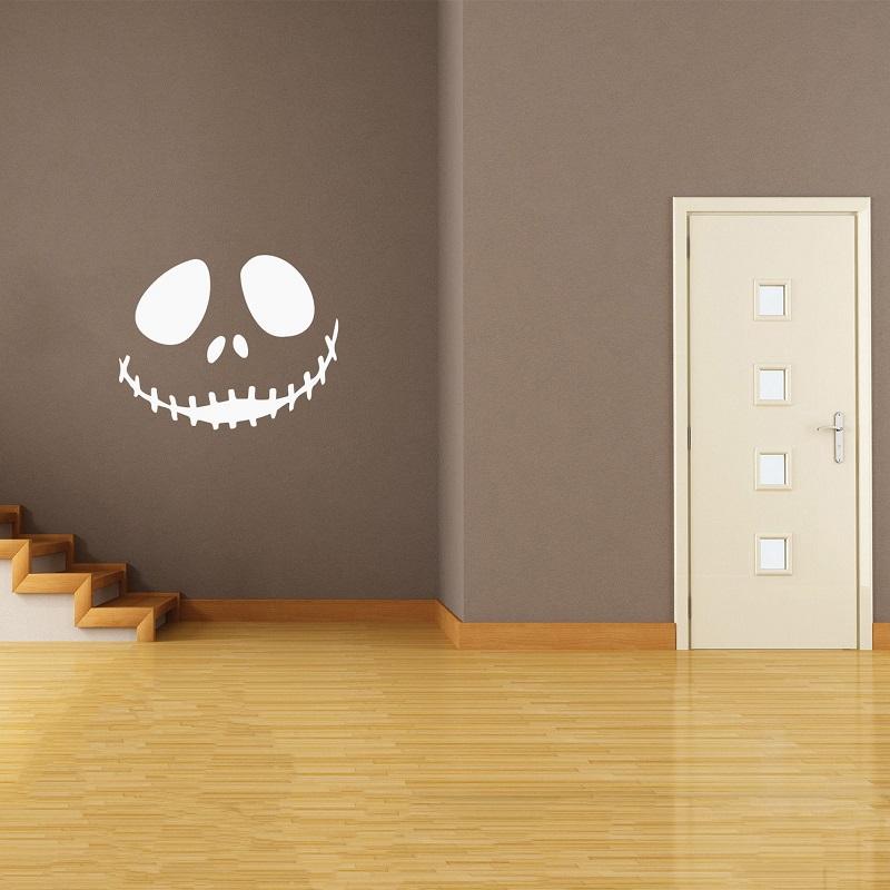 Halloween Cute smiling skull Art Wall Sticker Festive Atmosphere Decoration Waterproof Self-adhesive 2