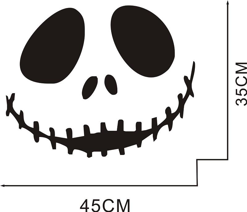 Halloween Cute smiling skull Art Wall Sticker Festive Atmosphere Decoration Waterproof Self-adhesive 3