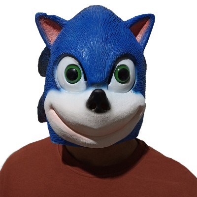 Sonic The Hedgehog Latex Mask Japanese Cartoon Game Cosplay Head Mask Halloween Performance Mask Party Favors