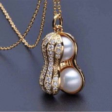 Personality Pearl Rhinestone Peanut Pendant Necklace For Women Girls Valentines Day Gifts