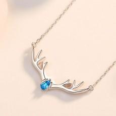 Antler Necklace Deer Necklace Sterling Silver Necklace Deer Antler Necklace for Women Girls