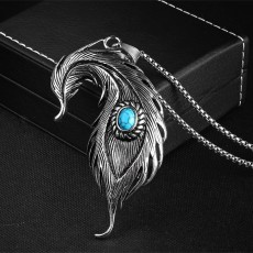 Lucky Protection Blue Evil Eye Stainless Steel Feathers Charms Pendant Necklace