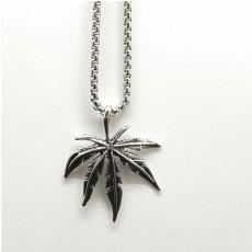 Marijuana Leaf Pendant Necklace for Men Punk Maple Leaf Cannabis Weed Jewelry