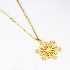 Gold Snowflake Pendant Necklace Elegant Snow Gift for Women