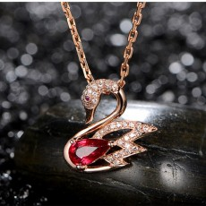 Womens Dancing Swan Necklace Red Rhodium Plated