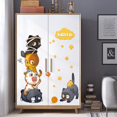 Cute Cats Wall Stickers Children Room Decoration Wardrobe Decorative Stickers