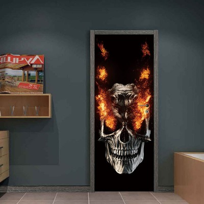 Party Supplies Halloween Decorations Flame Skull Wall Sticker Haunted House Decoration Door Big Sticker